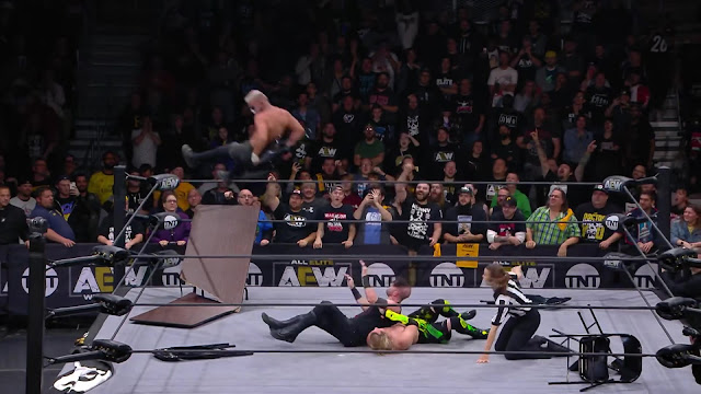Darby Allin ended the match with a chair assisted Coffin Drop on Jimmy Havoc.
