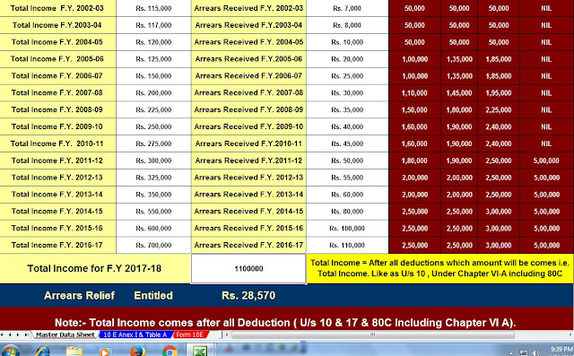Free Download Automated Master of Form 16 Part A&B for F.Y. 2019-20 and Automated Arrears Relief Calculator U/s 89(1) for F.Y. 2019-20 With Easy Investments to Save Tax u/s 80C 5
