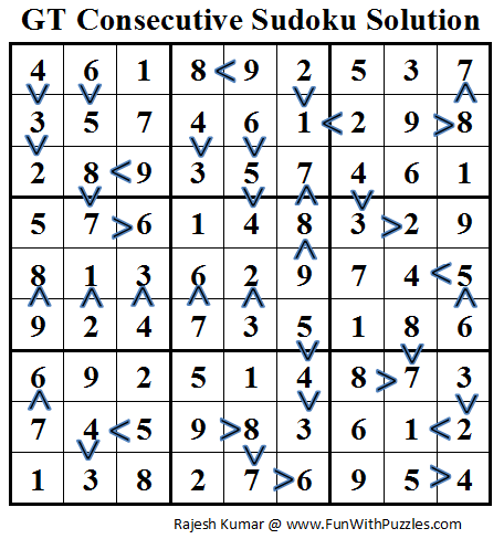 Greater Than Consecutive Sudoku (Daily Sudoku League #66) Solution