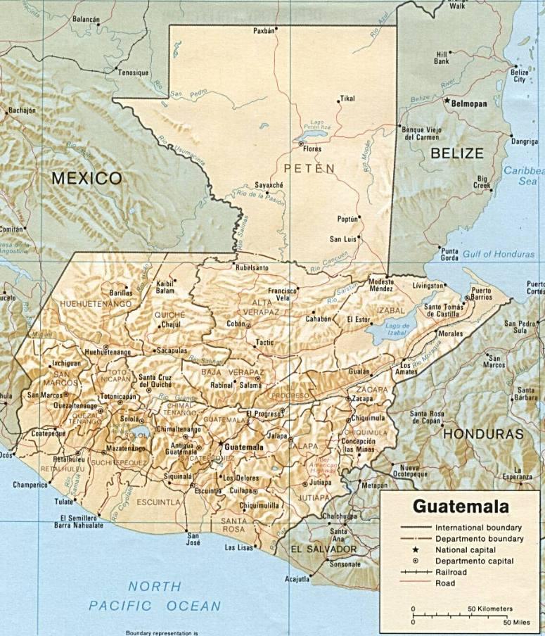 Guatemala - Hartat gjeografike në Guatemala