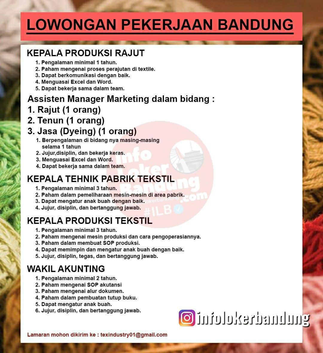 Lowongan Kerja Textile Industries Bandung September 2020