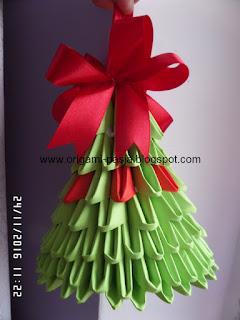 dzwonek, dzwoneczek, origami modułowe, świeta, 3d, zielony, czerwony, papier, z papieru