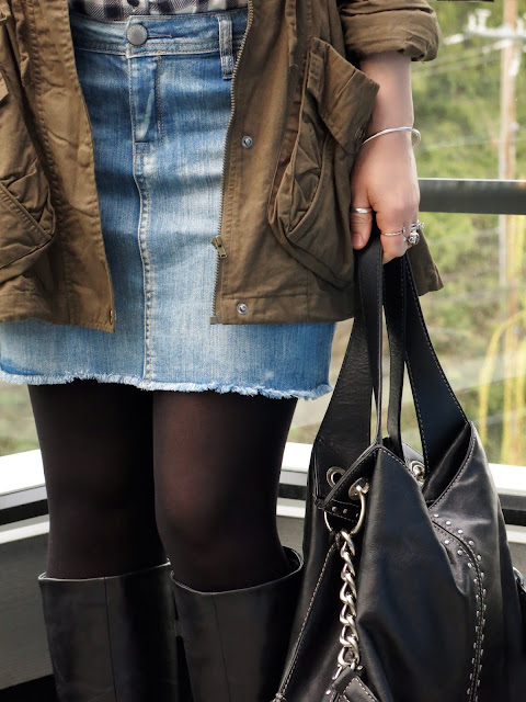 denim miniskirt, army-style parka, Michael Kors bag
