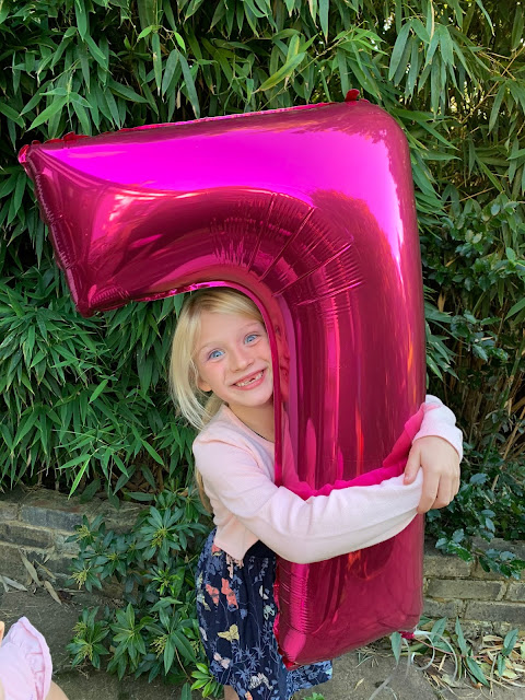 A 7 year old and her birthday balloon