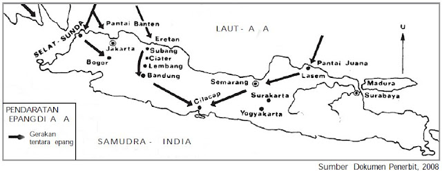 Peta pendaratan pasukan Jepang di Pulau Jawa.