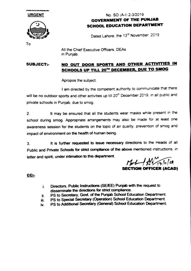 NO OUT DOOR SPORTS AND OTHER ACTIVITIES IN SCHOOLS UP TILL 20-12-2019 DUE TO SMOG