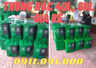 Thùng rác 40lit thích hợp dùng phân loại rác tại nhà