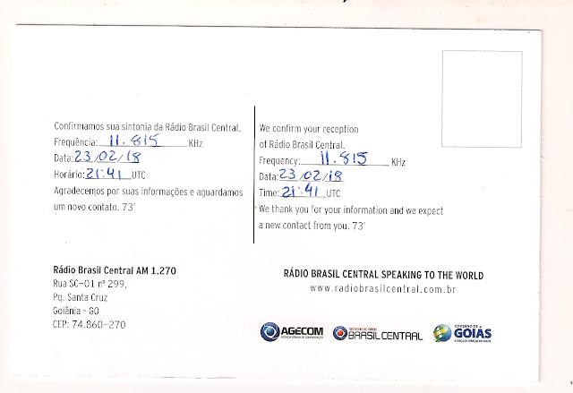 Rádio Brasil Central QSL