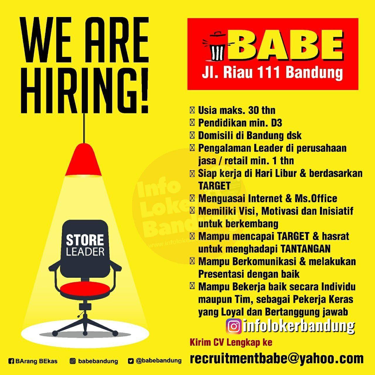 Lowongan Kerja Store Leader Babe Bandung Agustus 2019