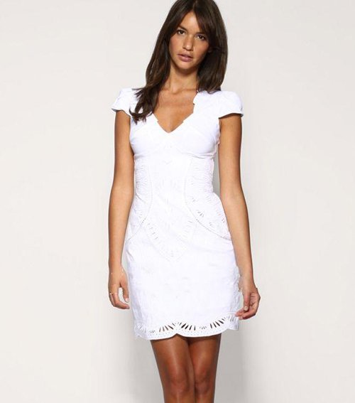 White Dress Pictures: Short Sleeve White Dress