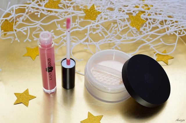 Naturalny zestaw kosmetyków Lily Lolo: mineralny rozświetlacz Star Dust i błyszczyk English Rose