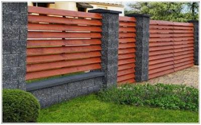 model pagar kayu minimalis dengan batu alam