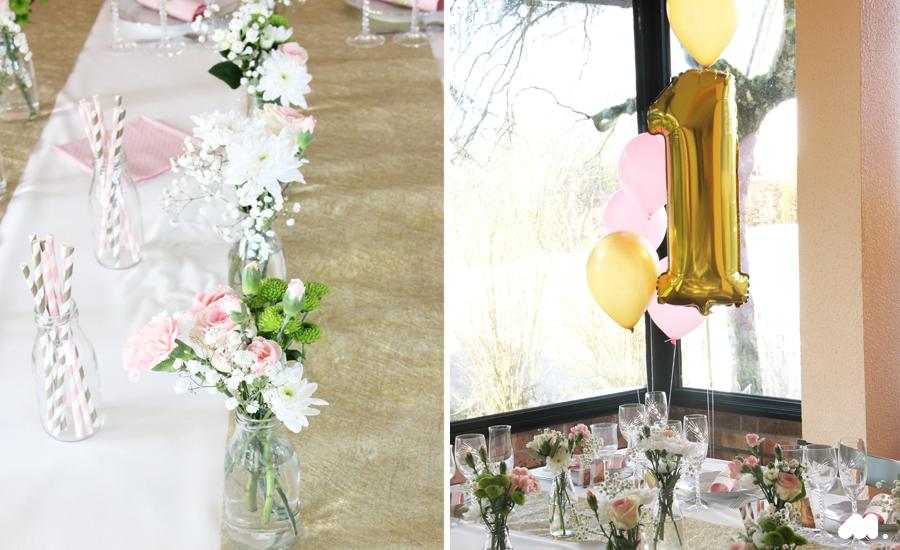 minigougue d co d coration en blanc rose or pour un premier anniversaire. Black Bedroom Furniture Sets. Home Design Ideas