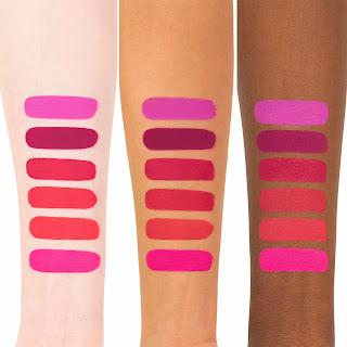 Kat Von D Liquid Lipstick Berlin Swatch on light, medium, and dark skin