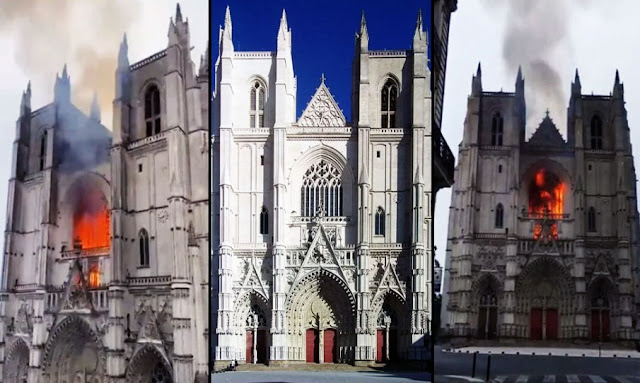 There is a massive fire at the historic Nantes Cathedral in France.