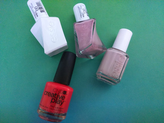 Essie Gel Couture Top Coat, Gel Couture Nail Polish in Touch Up, Essie Nail Polish in Go-go-Geisha and CND Creative Play nail polish in Well Red