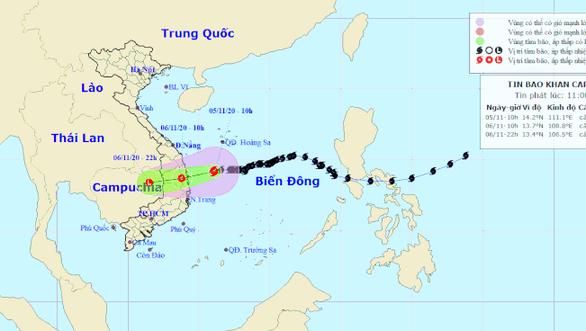 Bão số 10 sẽ suy yếu thành áp thấp nhiệt đới khi vào gần bờ