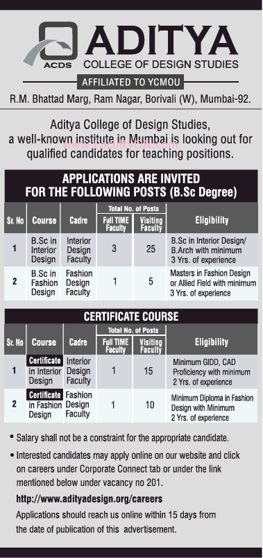 Aditya College Of Design Studies Mumbai Teaching Faculty Job Vacancy Faculty Teachers