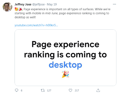 Tweet about page experience ranking for desktop