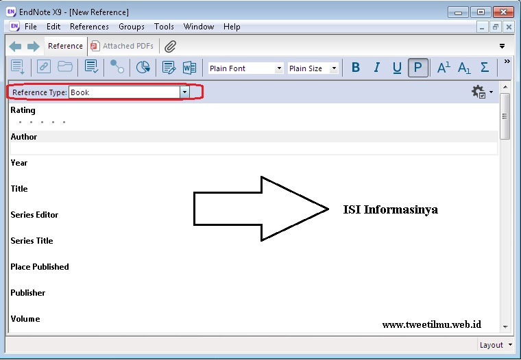 Mengisi data reference di endnote x9