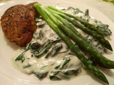 Spinach in Bechamel Sauce and Turkey Cutlets