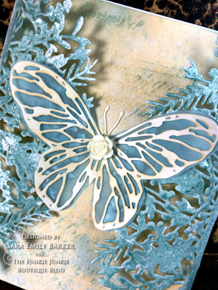 Sizzix Olivia Rose Foliage Wrap Tim Holtz Scribbly Butterfly Wrapped Card for The Funkie Junkie Boutique by Sara Emily Barker 2