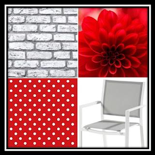 Inspiratiefoto witgrijs en helder rood. Inspiration photo white-gray and bright red