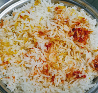 Colourful rice for restaurant style veg biryani recipe