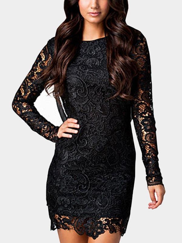 Black Backless Design Long Sleeves Mini Dress