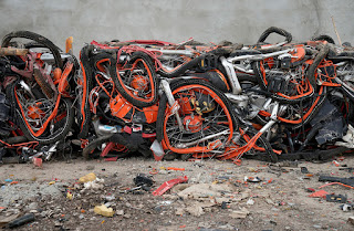 Millions of abandoned bicycles in China from ruined startups speculating on new bikes.