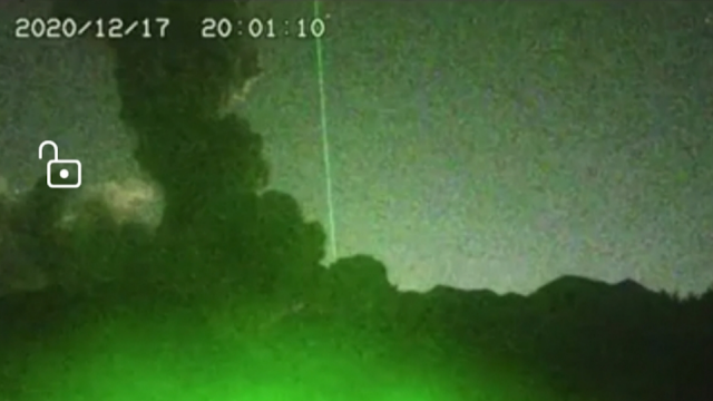 Green laser blows up a volcano in Mexico.