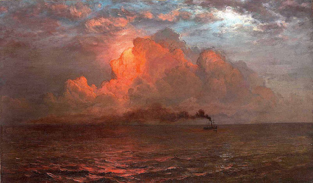 a Frederic Church painting of a ship with red sky