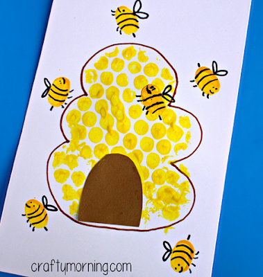 Улей с пчелками - рисуем с помощью пупырчатой пленки.