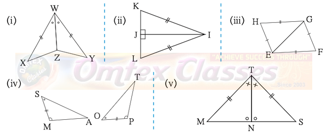 Congruence of Triangles Practice Set 13.1 Question 1. In each pair of triangles in the following figures, parts bearing identical marks are congruent. State the test and correspondence of vertices by which triangles in each pair are congruent.