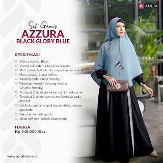 Koleksi Gamis Syari Muslimah Azzura Black Glory Blue Set Syari by AULIA Fashion