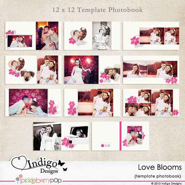 indigo designs photobook template love blooms and. Black Bedroom Furniture Sets. Home Design Ideas