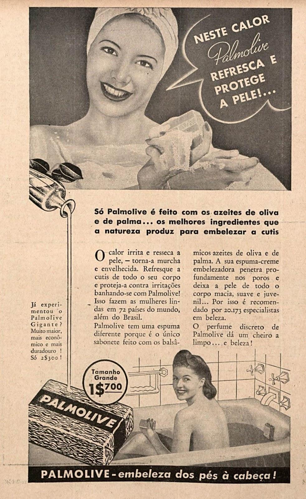 Propaganda antiga do Sabonete Palmolive veiculada nos anos 40