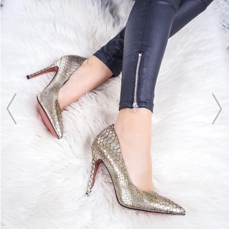Pantofi dama cu toc de nunti si cozii champagne la pret mic
