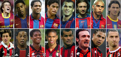 FC Barcelona-Ac Milan players