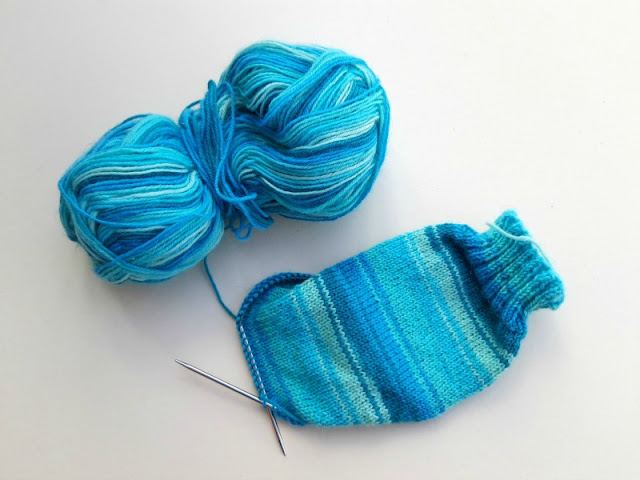 Basic 4ply Sockalong sock in WYS Winwick Mum Collection Seascape