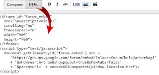 Cara Memasukan Kode Script di dalam Posting Blog