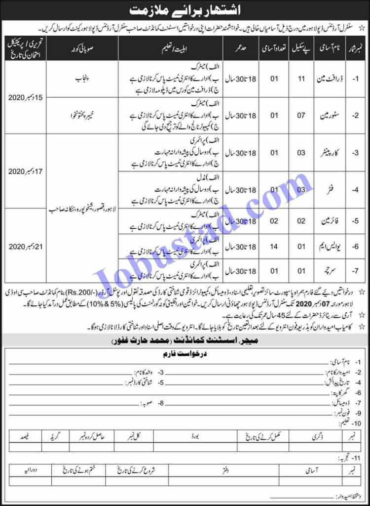 Jobs in Pakistan Army Central Ordnance Depot (COD) Lahore Nov 2020