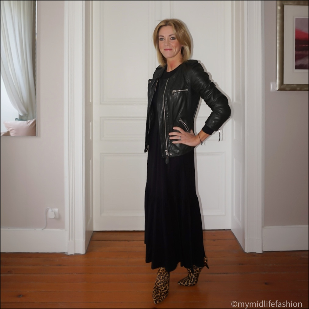 my midlife fashion, saint and Sofia greenwich tiered long sleeve maxi dress, Isabel Marant Etoile  leather jacket, hush kitten heel leopard print ankle  boots