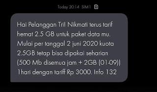 Tri 2,5GB sehari berubah | dari FB