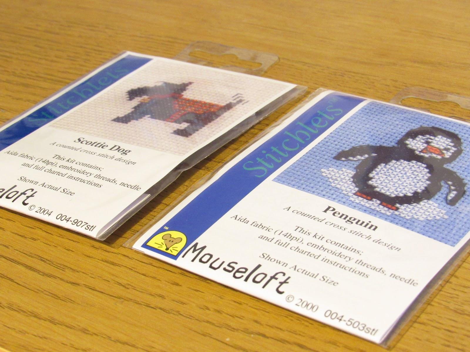 Hobbycraft Mini Cross Stitch Kits of penguin and scottie dog