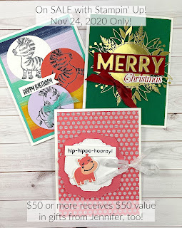 Three cards from with Stampin' Up!® merchandise.  MOST items are ON SALE Nov 24, 2020 ONLY!  #StampTherapist #StampinUp