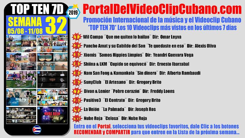 Artistas ganadores del * TOP TEN 7D * con los 10 Videoclips más vistos en la semana 32 (05/08 a 11/08 de 2019) en el Portal Del Vídeo Clip Cubano
