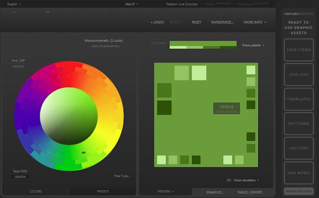موقع Paletton لإختيار ألوان التصميم
