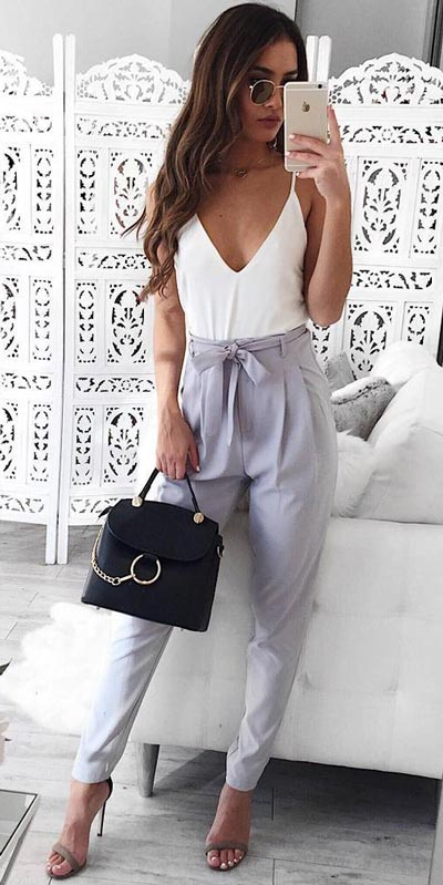 Looking forward to walking your workspace with style? Check out these 24 Stylish Summer Work Outfits for Women that are Office-friendly. Work Wear via higiggle.com | stylish pants | #summeroutfits #office #workoutfits #pants