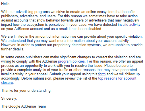 Email dari Google AdSense karena invalid activity